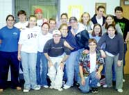 Champlin Park High School band student leader team following leadership team-building training workshop, Champlin, Minnesota