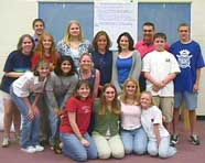 Photo of high school student government leaders participating in a leadership team-building training workshop at Miamisburg High School, Ohio