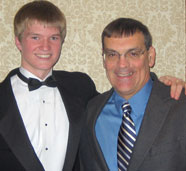 Peter Ferrito with a student leader from Kennasaw, Georgia's Harrison High School after a great performance at the Midwest Band and Orchestra Convention, Chicago, Illinois, December 2007